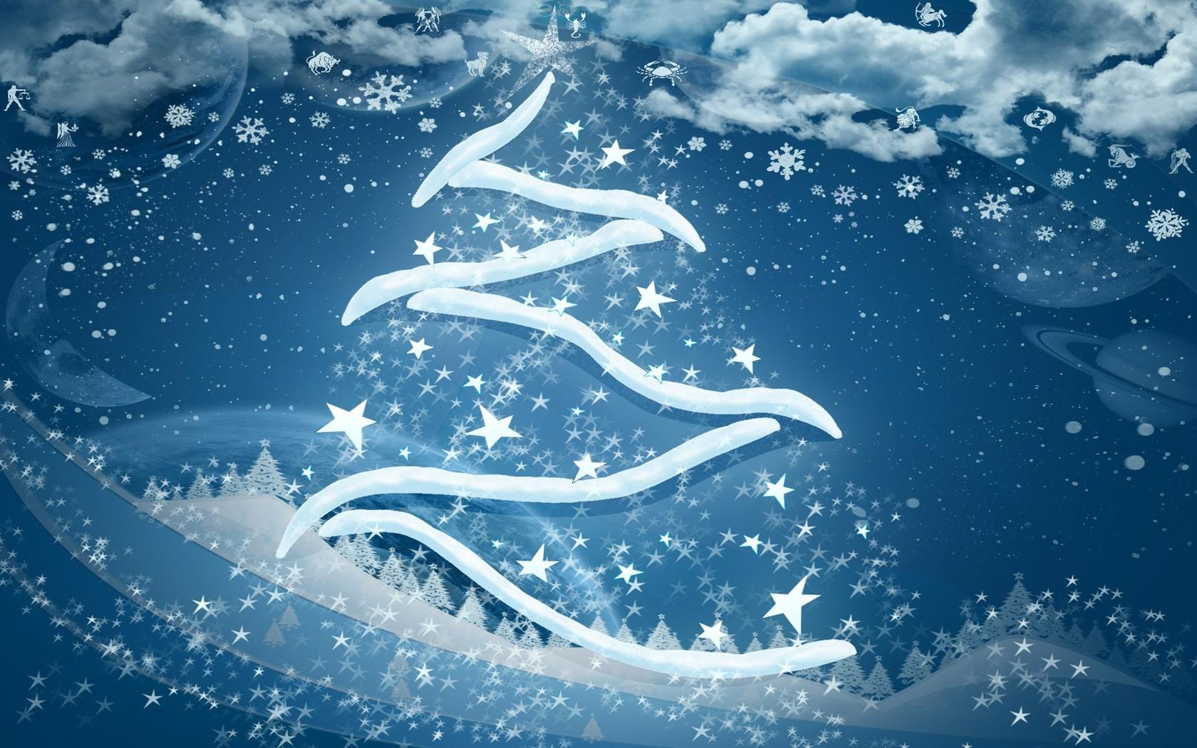 Download Snowy Christmas tree wallpaper 1680x1050