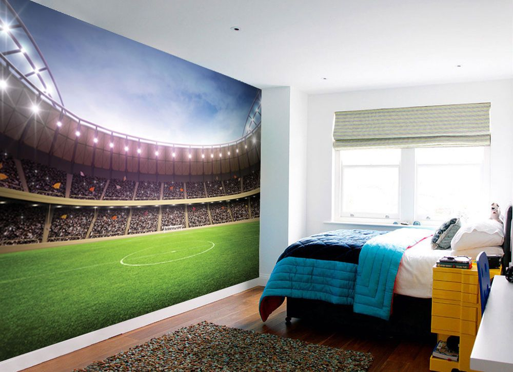 1Wall FOOTBALL STADIUM PITCH FOOTBALL GROUND WALLPAPER WALL MURAL 1000x727