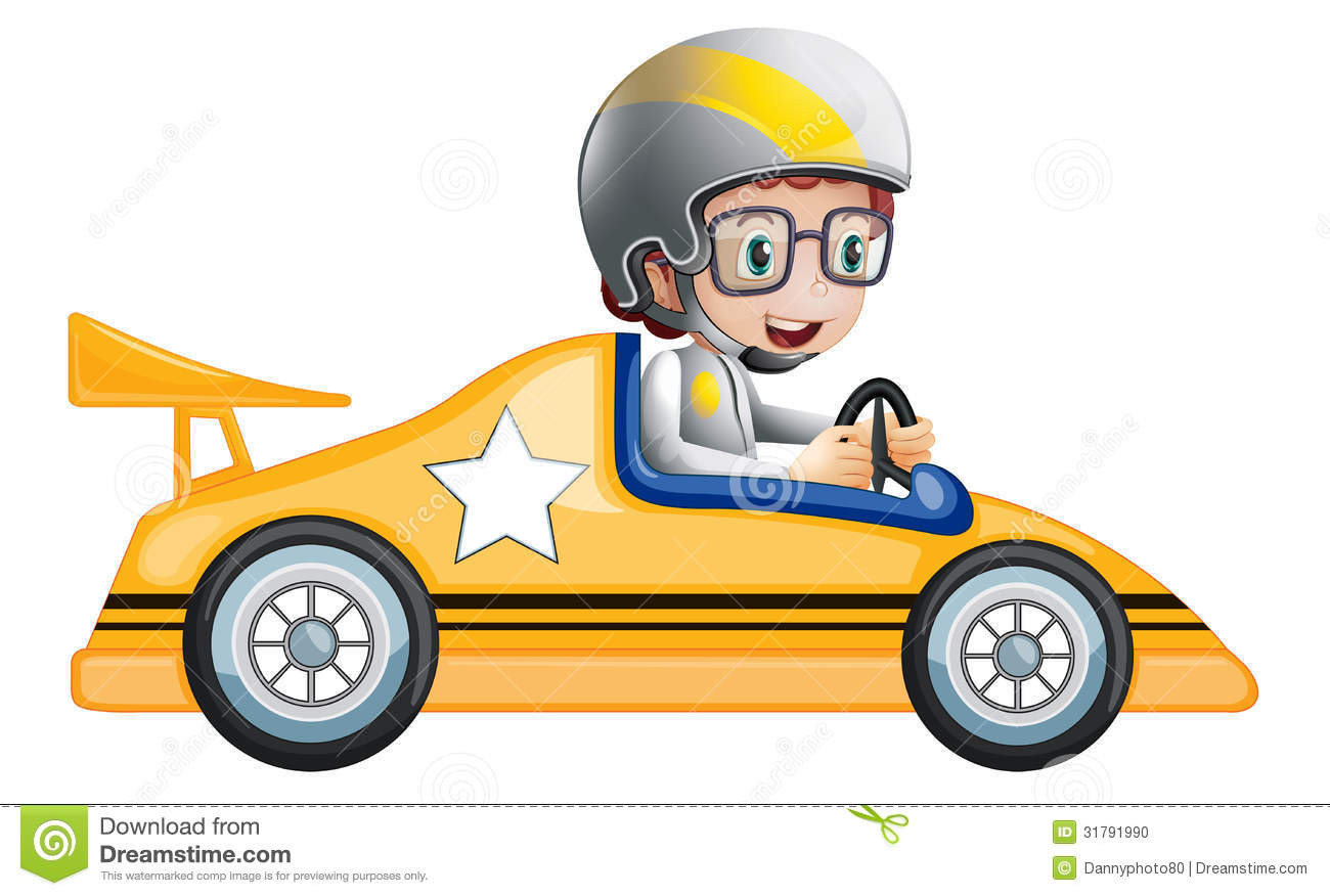 Illustration Of A Girl In Her Yellow Racing Car On White Background 1300x876