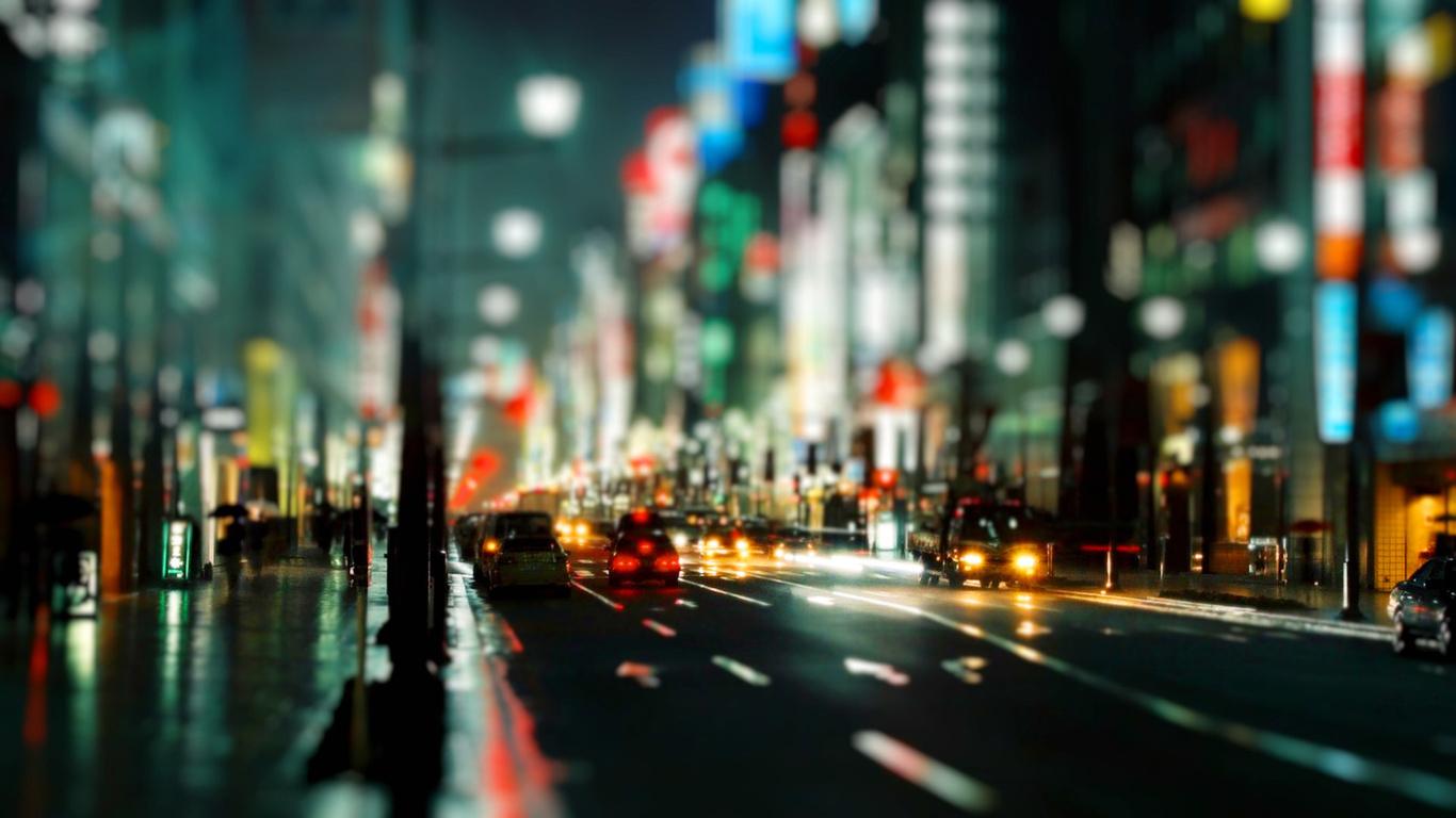 City Night Hd At Street Lights   1366x768 iWallHD   Wallpaper HD 1366x768
