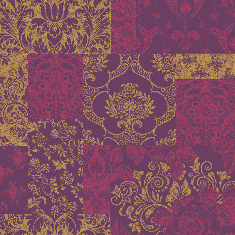 Vymura Brocade Suede Effect Wallpaper in Purple and Gold   M0891 800x800