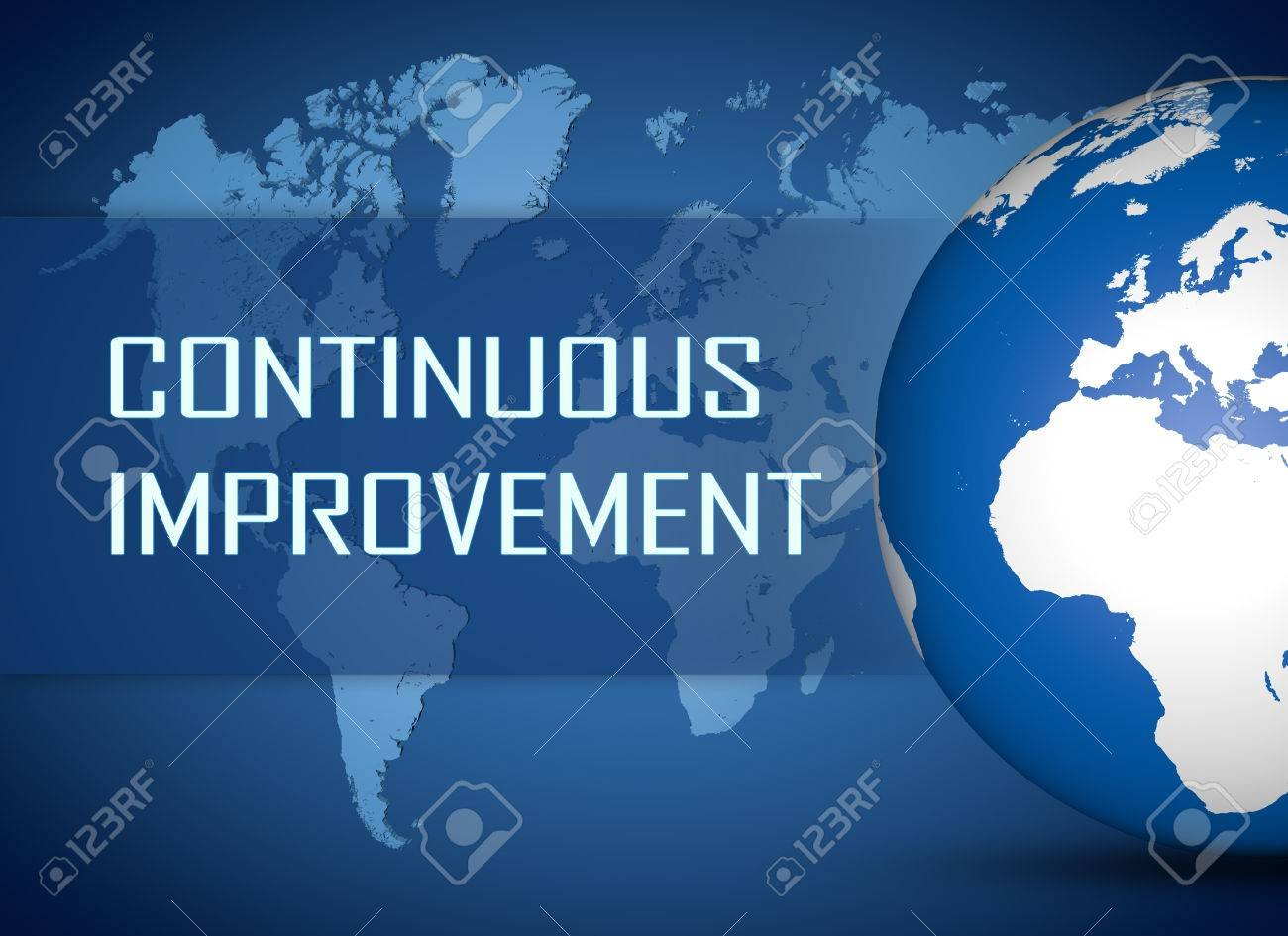 Continuous Improvement Concept With Globe On Blue World Map 1300x945