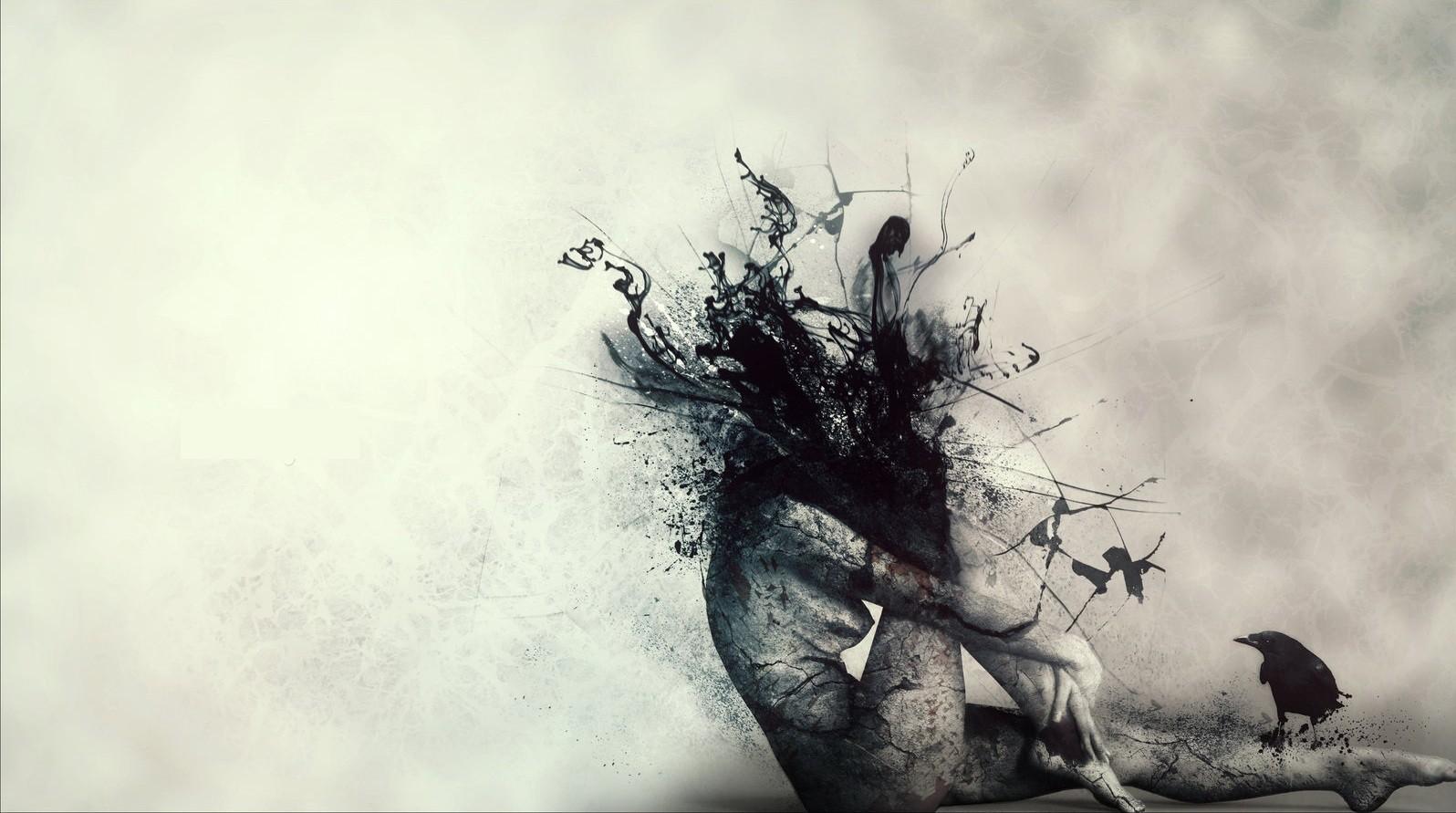 women horror dark blood sorrow ink raven splatters 1596x891