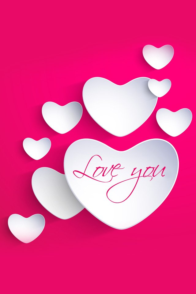 Send The HD Love you with pink Background Whatsapp Wallpaper 640x960