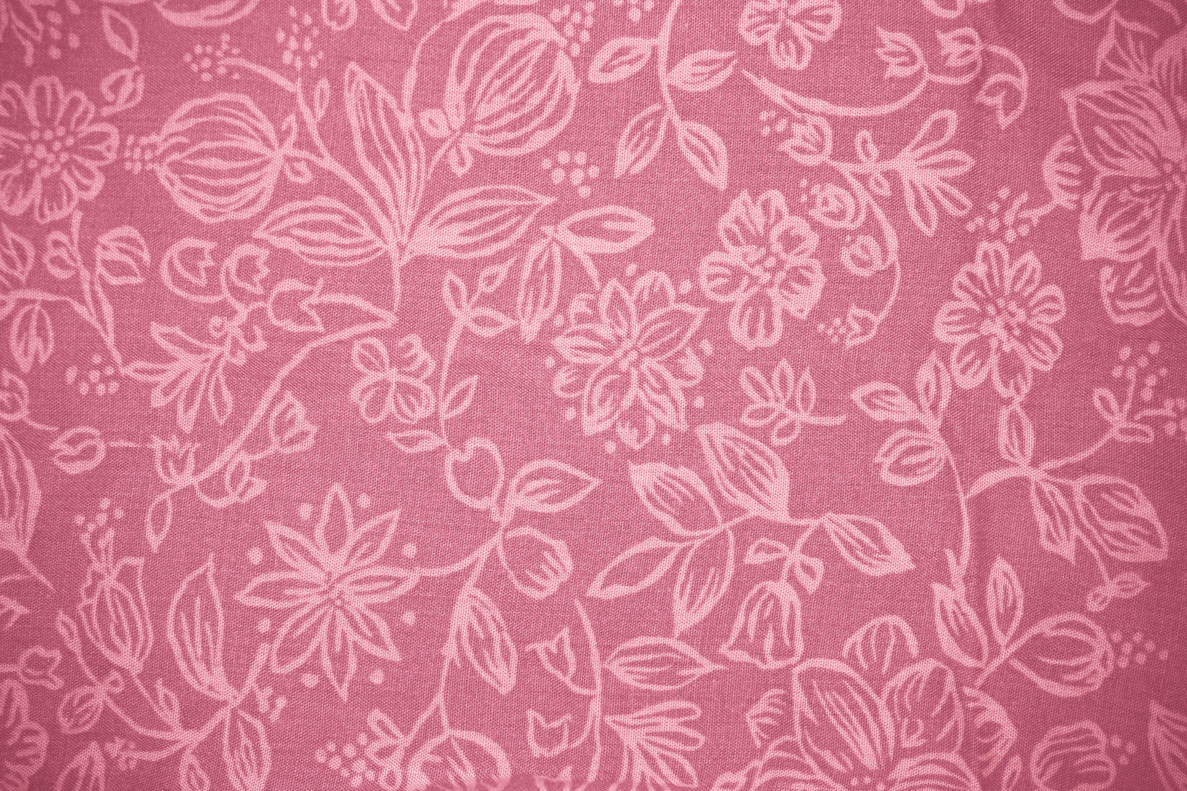 Coral Colored Fabric with Floral Pattern Texture Picture 3888x2592
