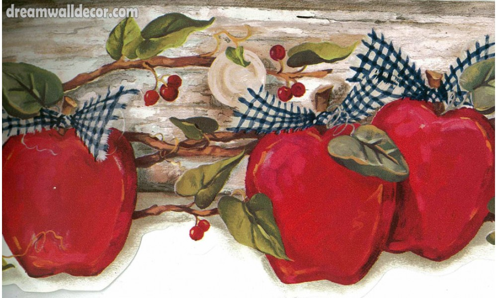 Home Three Red Apples Wallpaper Border 1000x600