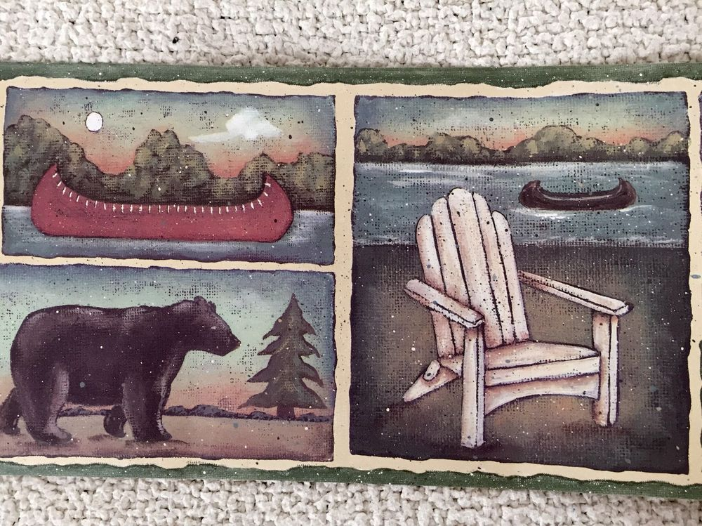 Rustic Lodge Wallpaper Border with Bear Canoes and Lake eBay 1000x749
