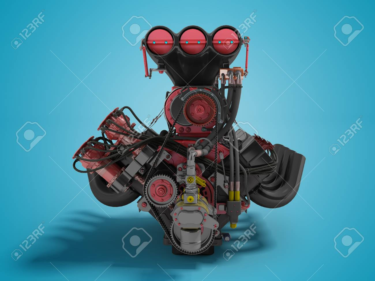 Red Engine With Supercharger Front View 3d Render On Blue 1300x975