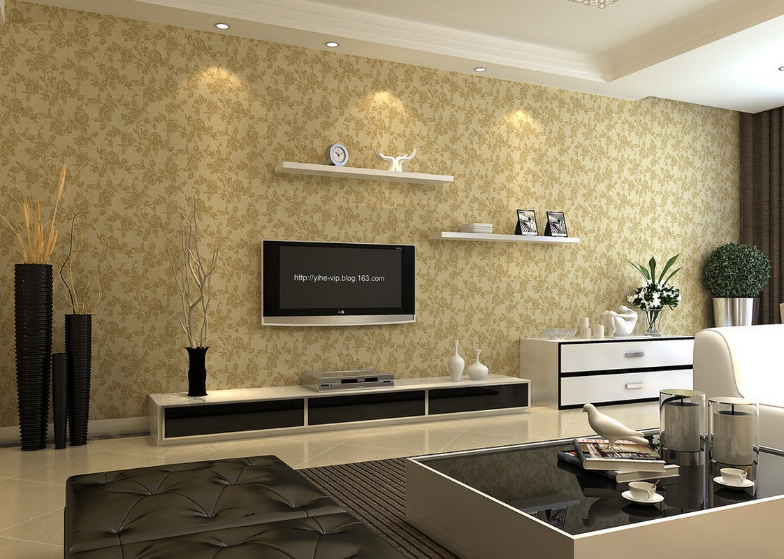 Modern minimalist TV wall with floral wallpaper 3D House 1122x800