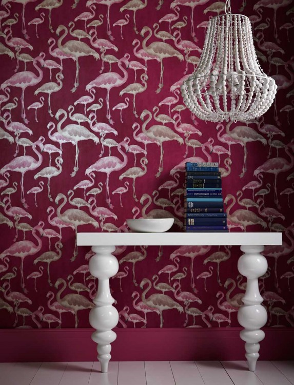 Flamingo Beach Orchid Designer Contemporary Wallpaper 573x750