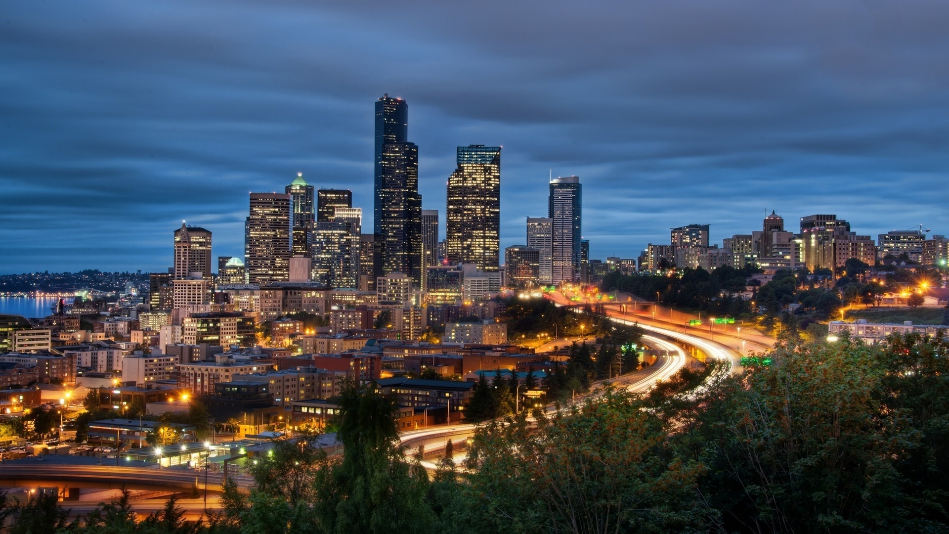 Wallpaper in Seattle night city lights downtown seattle washington 1920x1080