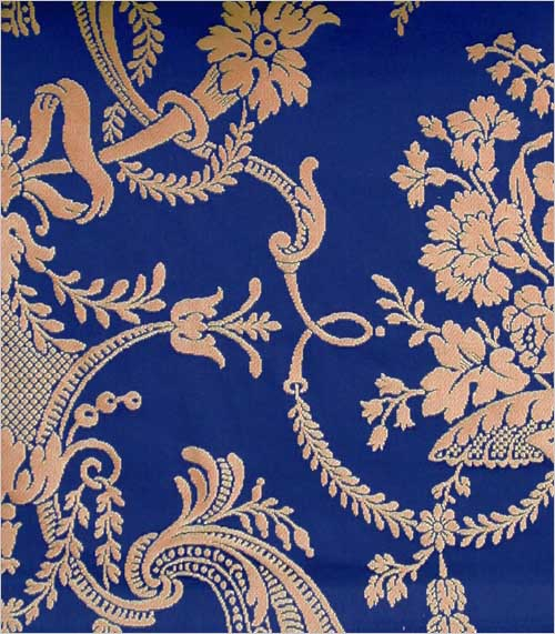 Rococo Damask Fabric Rococo Revival royal blue and gold damask 500x571