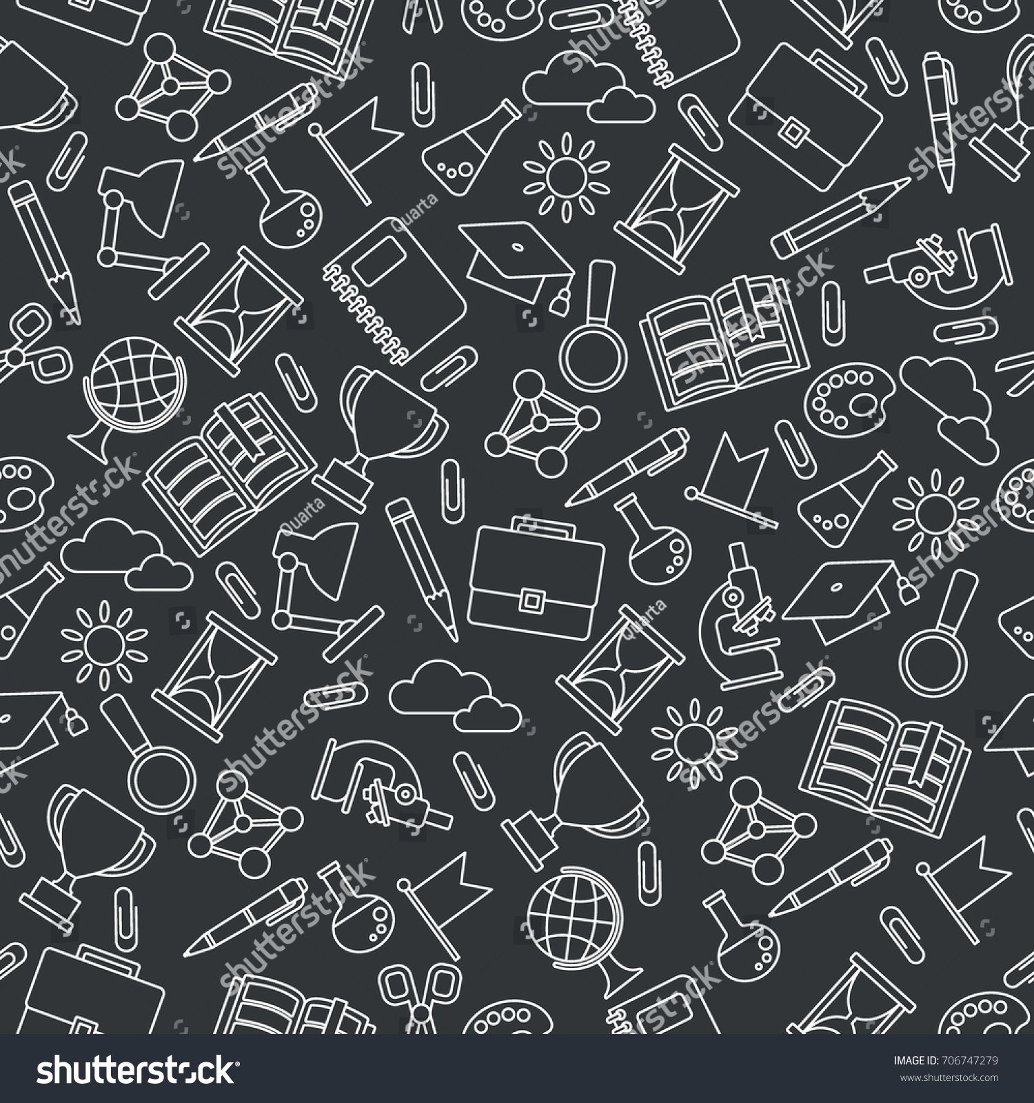School seamless pattern with education supplies Textures 1500x1600