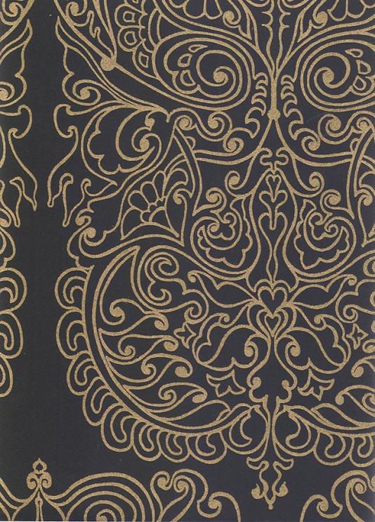 Alpana Wallpaper Wallpaper with gold design printed on black 534x743