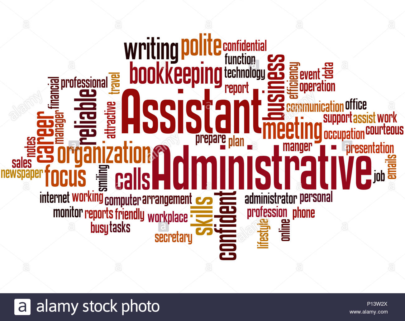 Administrative Assistant word cloud concept on white background 1300x1028