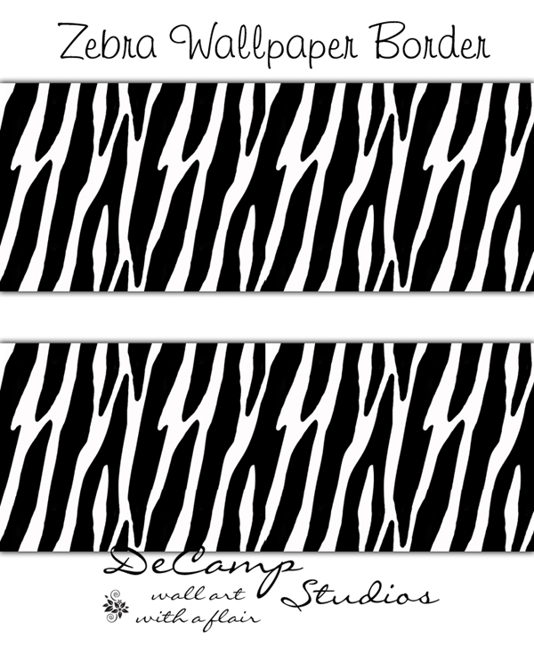 Zebra Print Wallpaper Border Wall Decals Animal Jungle Stripes [60 600x726