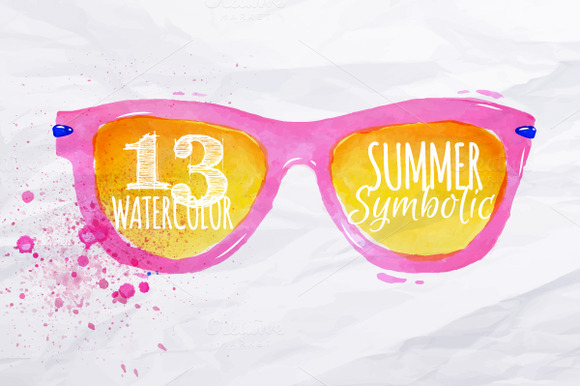 CreativeMarket Set Watercolor summer 50927 580x386