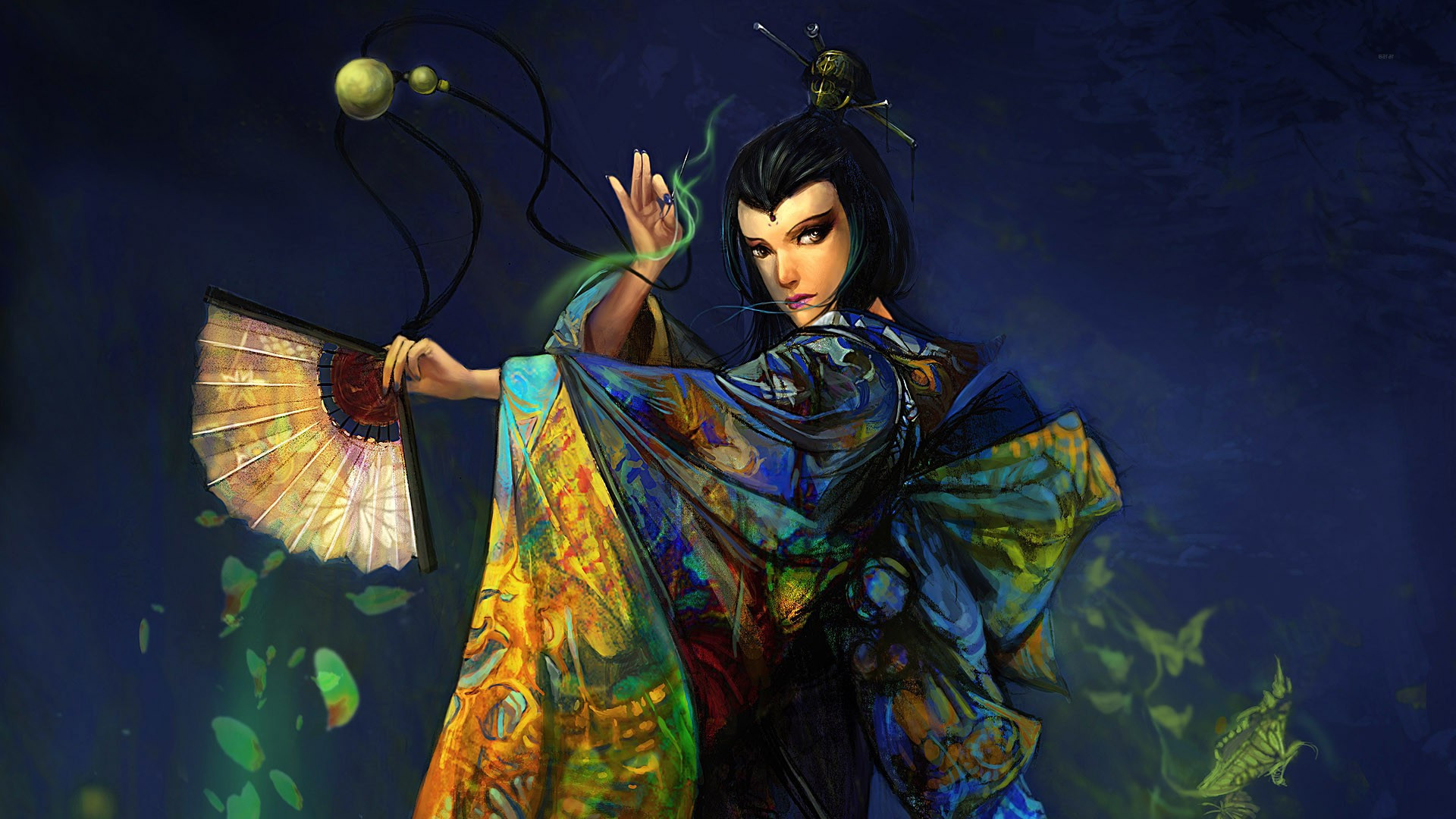 Geisha performing with a fan wallpaper 3209 1920x1080