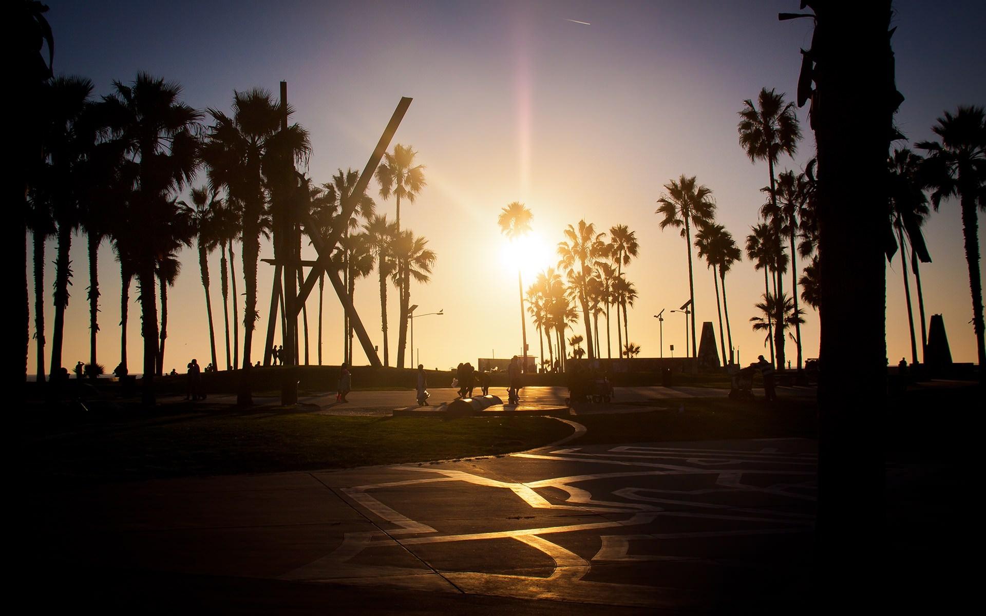 Wallpaper Los angeles California sunset summer venice beach 1920x1200