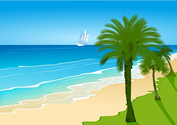 as cartoon beach landscape beach palm trees beach sailing waves vector 600x424