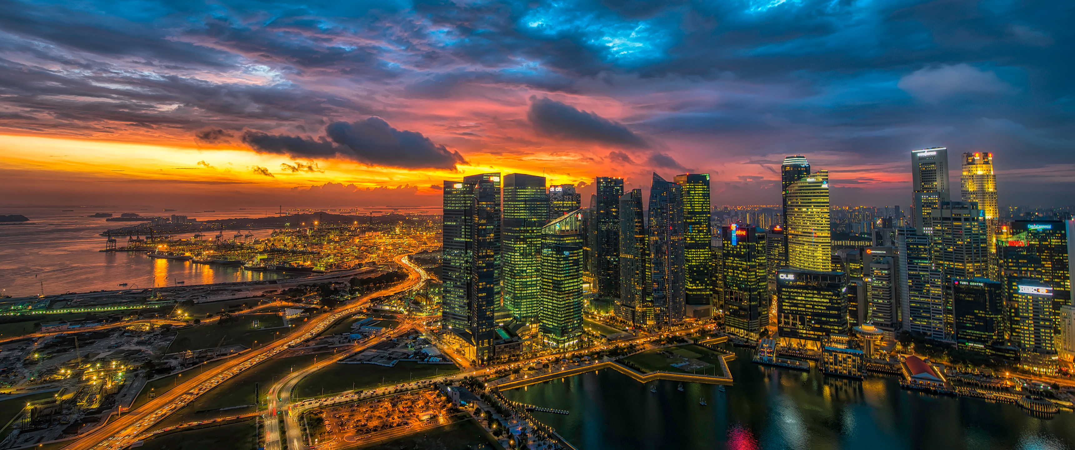 Glowing Singapore 219 Wallpaper Ultrawide Monitor 219 Wallpapers 3440x1440