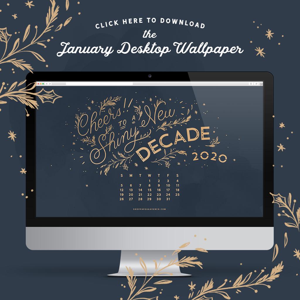 January 2020 Desktop Wallpaper Paper Raven Co 1024x1024