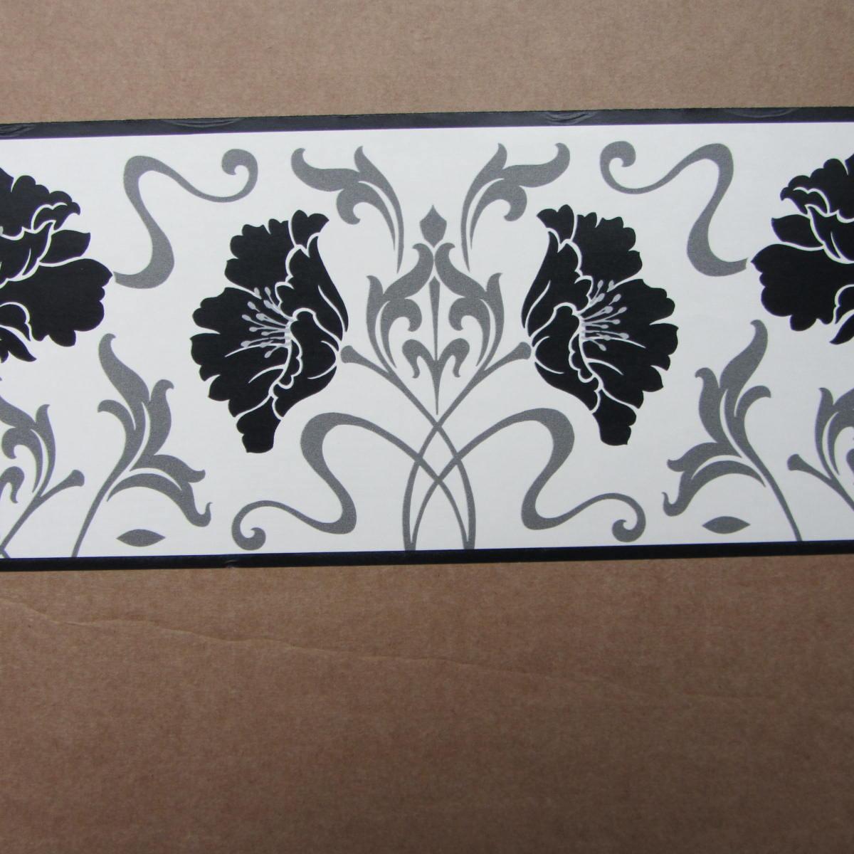 Free Download About Modern Floral Damask Black White
