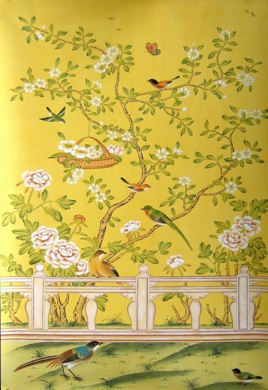 China Hand Painted Wallpaper CHINOISERIE 22   China Wallpaper Hand 550x800