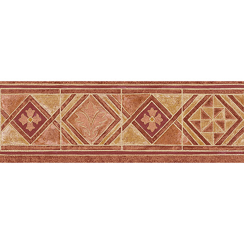 Blue Mountain Tile Wallpaper Border Red Burnt Orange and Beige 500x500