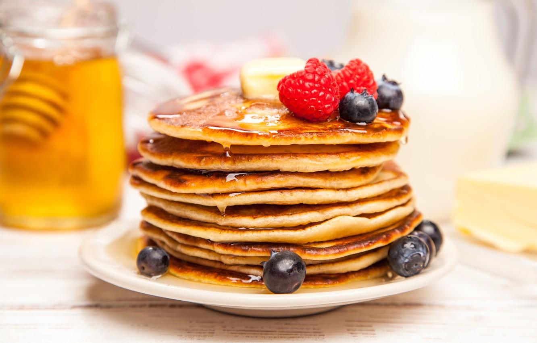 Wallpaper berries blueberries strawberry honey pancakes 1332x850