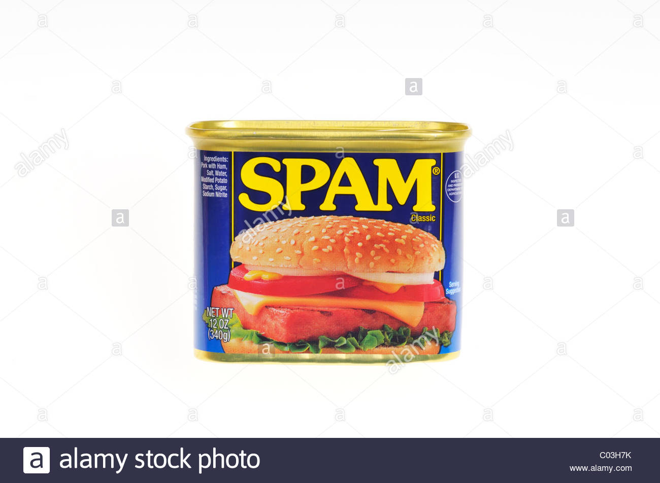 Unopened tin can of Hormel Foods meat product Spam on white Stock 1300x953