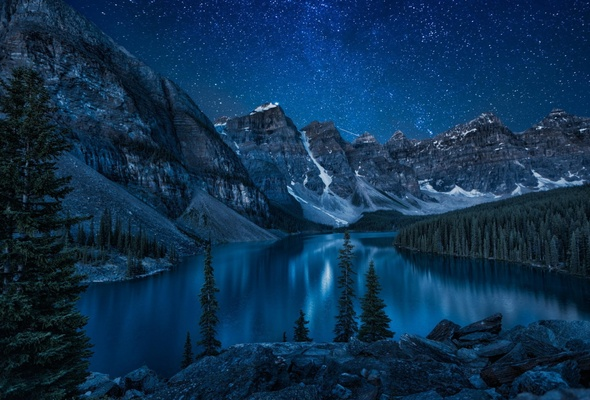 Wallpaper mountains forest lake night Banff National Park Moraine 590x400