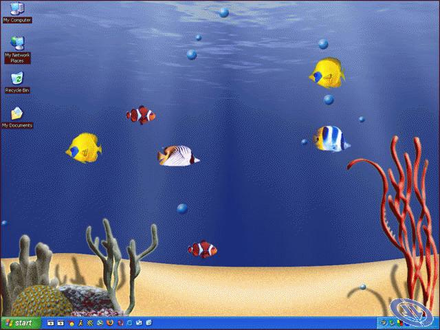 IMAGE ANIMATED WALLPAPER FEATURING SWIMMING FISH IN A 3D AQUARIUM 640x480