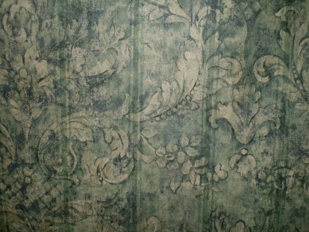 Navy Blue Green and Gold Distressed Damask Wallpaper Blonder SF37097 1024x768