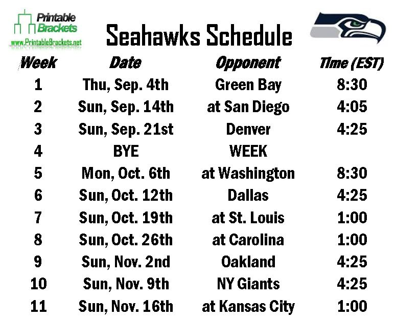 photo regarding Seattle Seahawks Schedule Printable called Obtain Seahawks Routine Seattle Seahawks Timetable