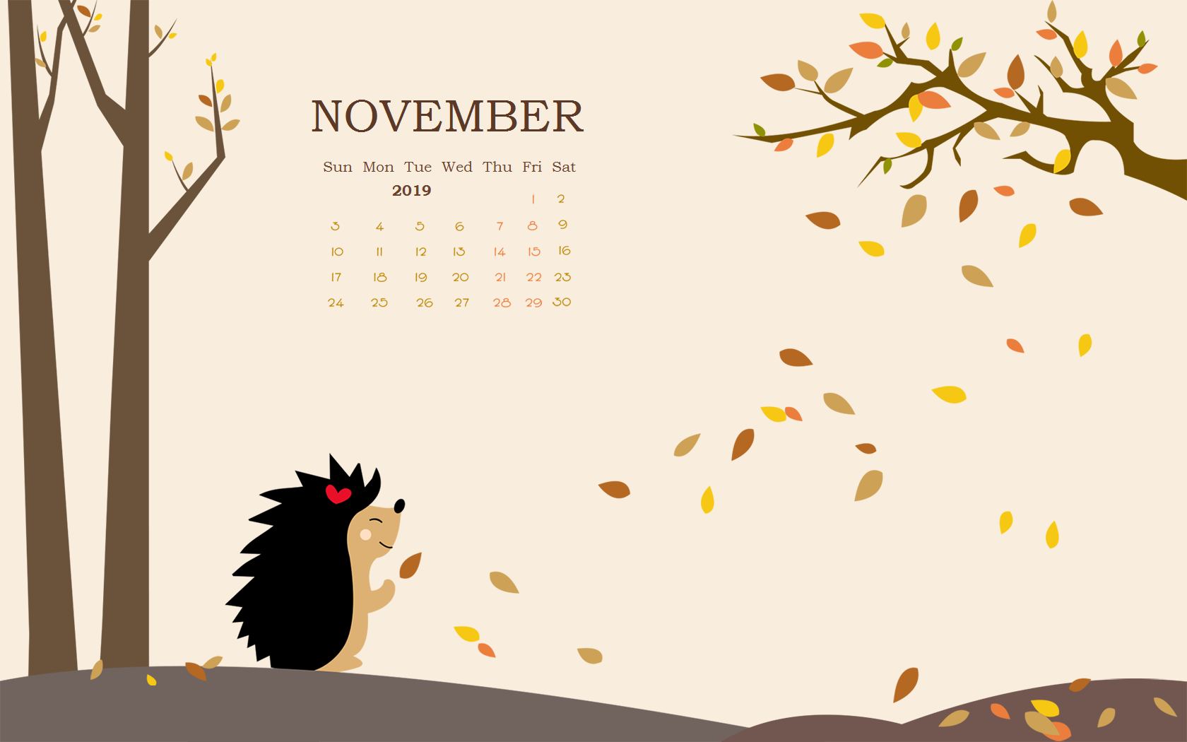 Floral November 2019 Calendar Wallpaper for Desktop Monthly 1680x1050
