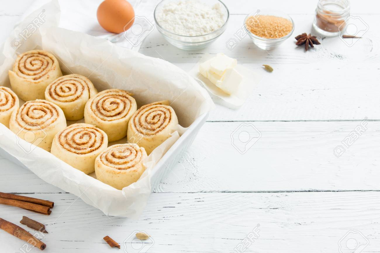 Cinnamon Rolls Or Cinnabon Homemade Recipe Raw Dough Preparation 1300x866