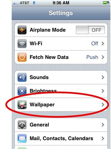Wallpaper Tab in iPhone Settings 360x500