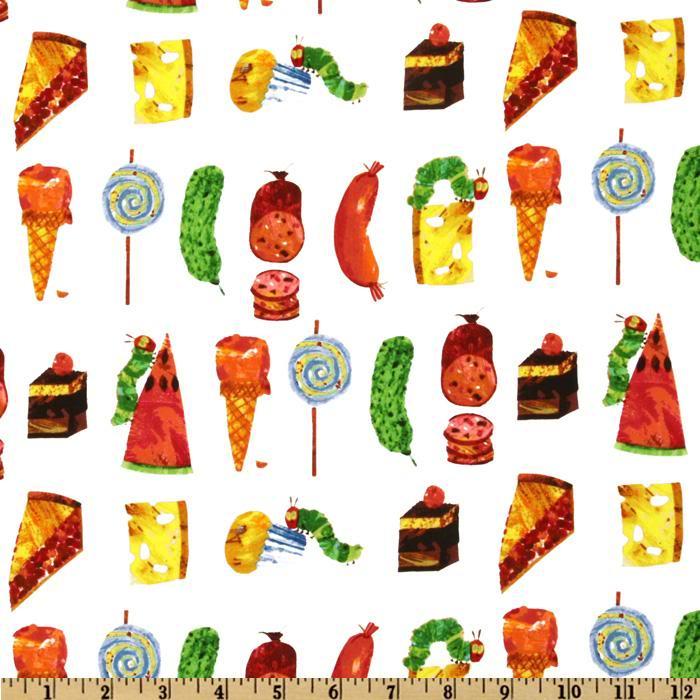 The Very Hungry Caterpillar Snacks Fabric FQ eBay 700x700