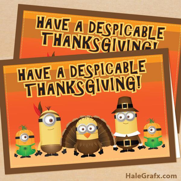 Thanksgiving minion card FREE Printable Despicable Me Thanksgiving 600x600