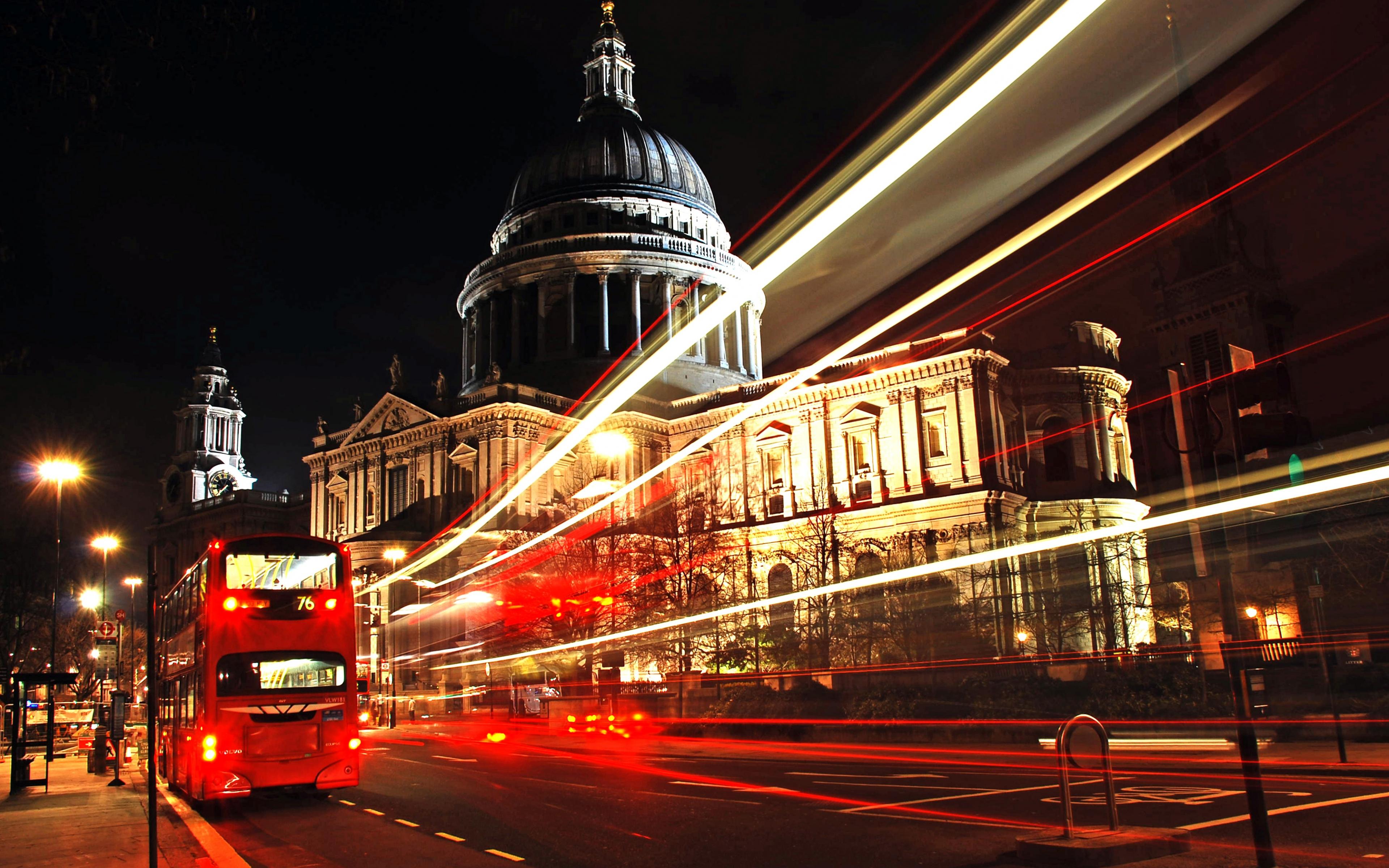 Wallpaper 3840x2400 london city bus night Ultra HD 4K HD Background 3840x2400