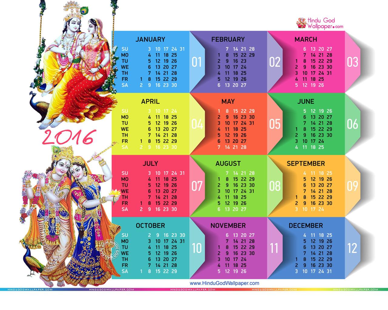 2016 Wallpaper Calendar   Desktop Calendar 2016 1280x1024