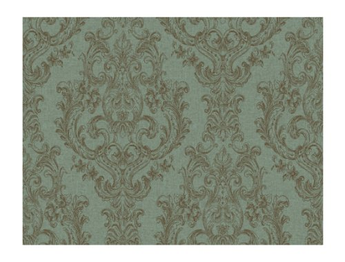 Wind River Detailed Archival Damask Prepasted Wallpaper TealBrown 500x380