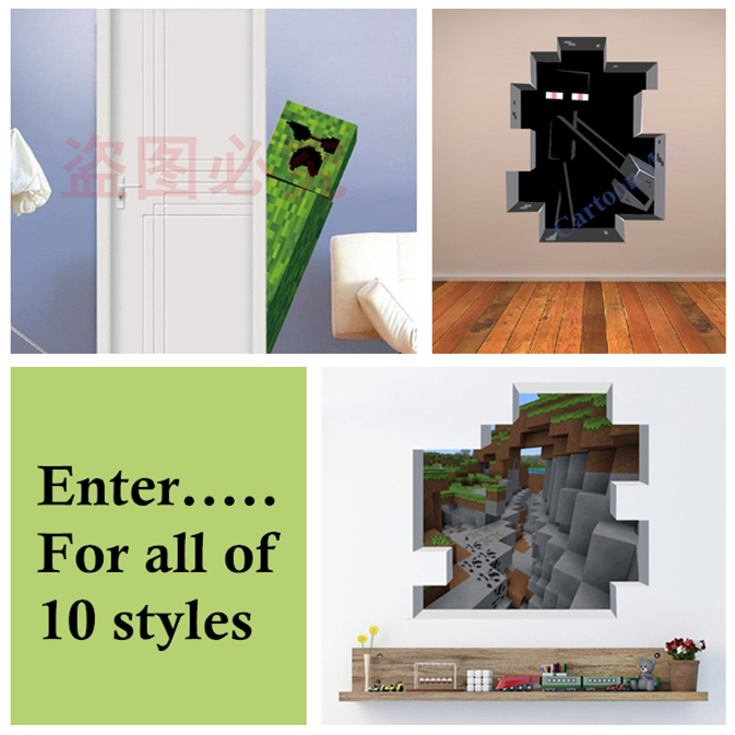 Mixed Styles Minecraft 3D Wall Stickers Wallpaper for Kids Room 673x673