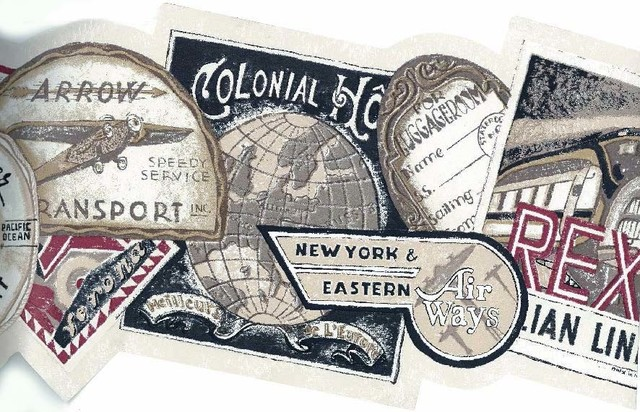 Vintage Travel Tags Wallpaper Border Roll   Traditional   Wallpaper 640x412