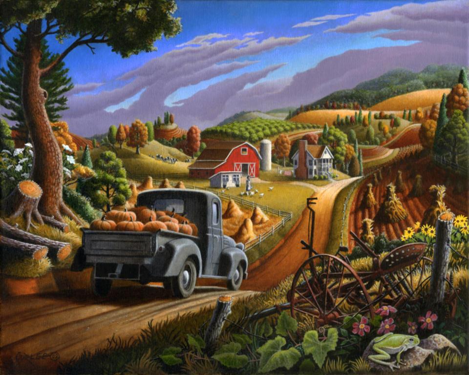 Pumpkins Folk Art Farm Life Country Landscape American Timeless 960x768