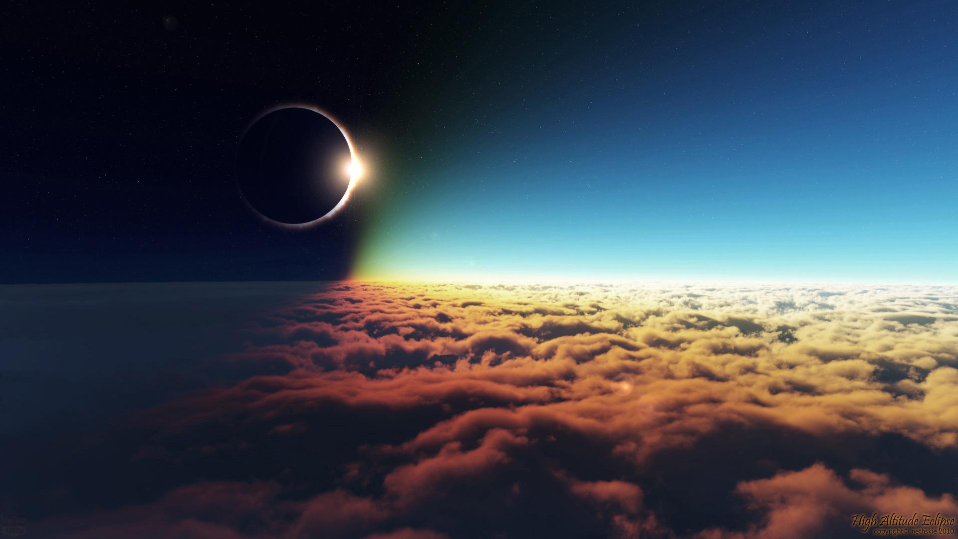 Wallpaper sun, moon, clouds, sky, stars, eclipse desktop wallpaper ...