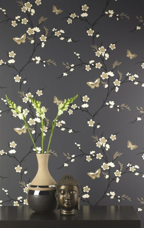 This striking oriental style print with snow blossom and delicate 506x800