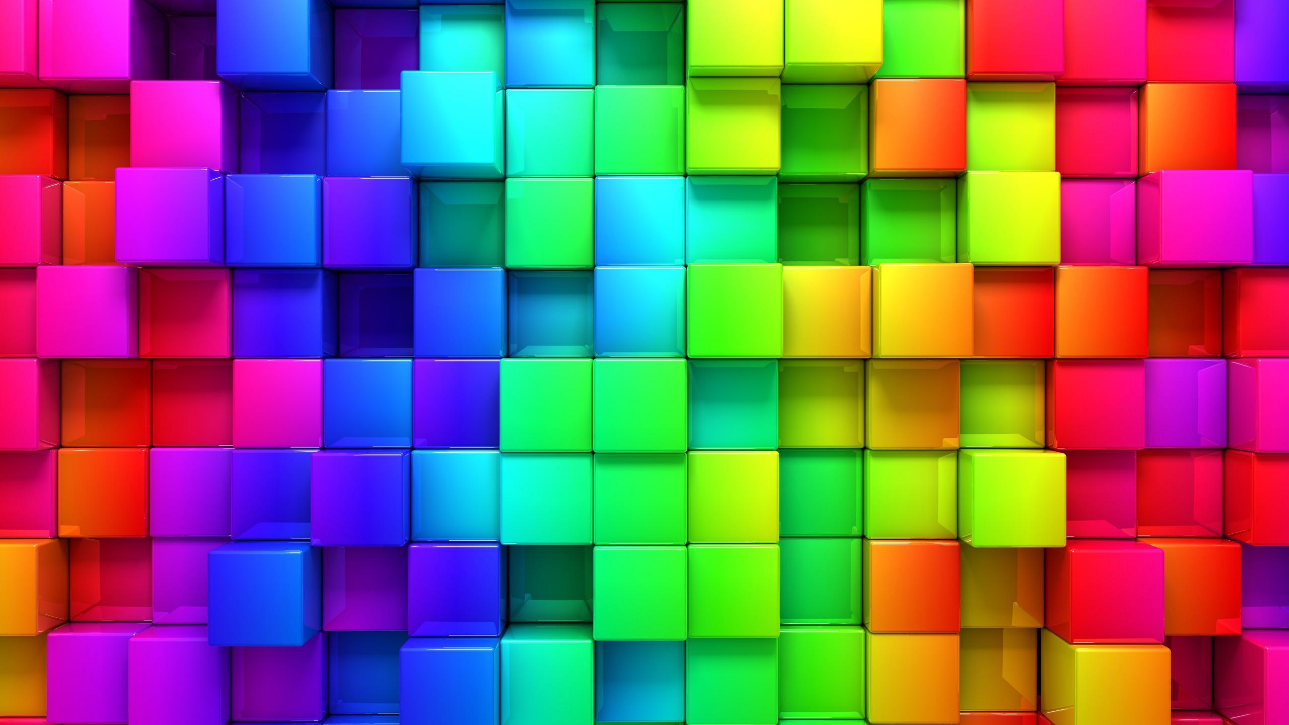 2560x1440 Wallpaper blocks rainbow 3d graphics background 2560x1440