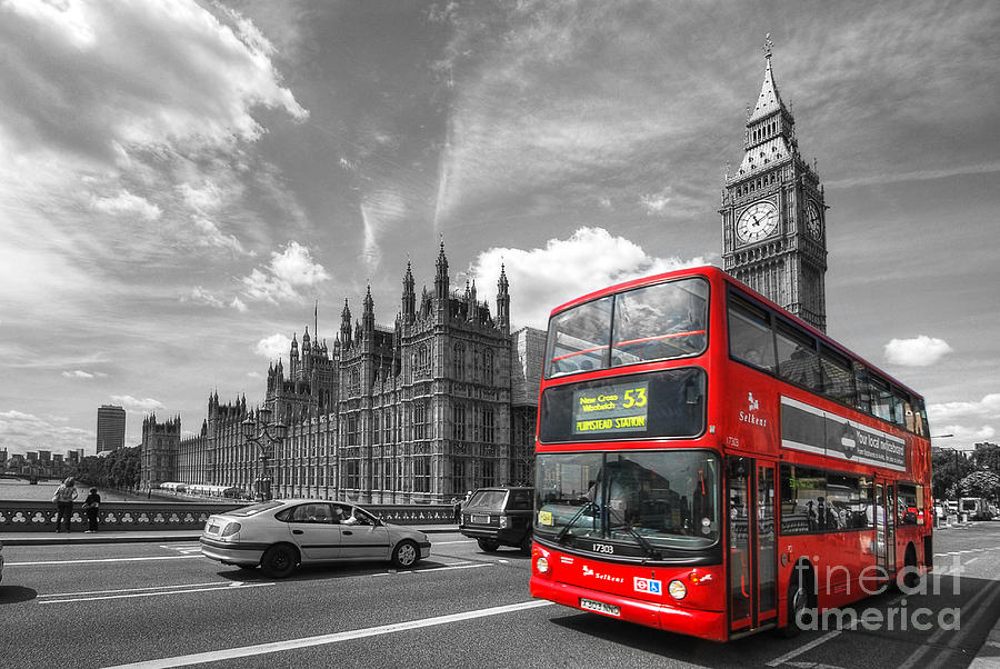 London Big Ben And Red Bus Photograph 900x602